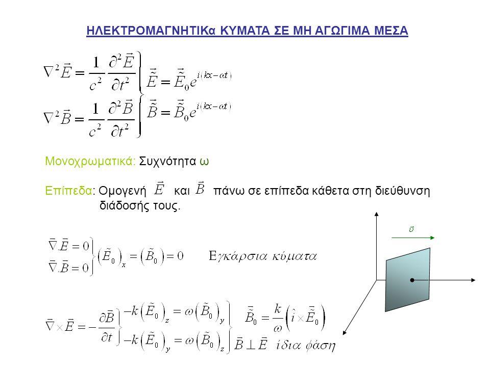 Τυχαία Κατεύθυνση Ενέργεια – Ορμή Ηλεκτρομαγνητικών Κυμάτων Πυκνότητα Ενέργειας ΗΜ Πεδίου Πυκνότητα Ροής Ενέργειας ΗΜ Πεδίου Άνυσμα Poynting Πυκνότητα ορμής ΗΜ πεδίου