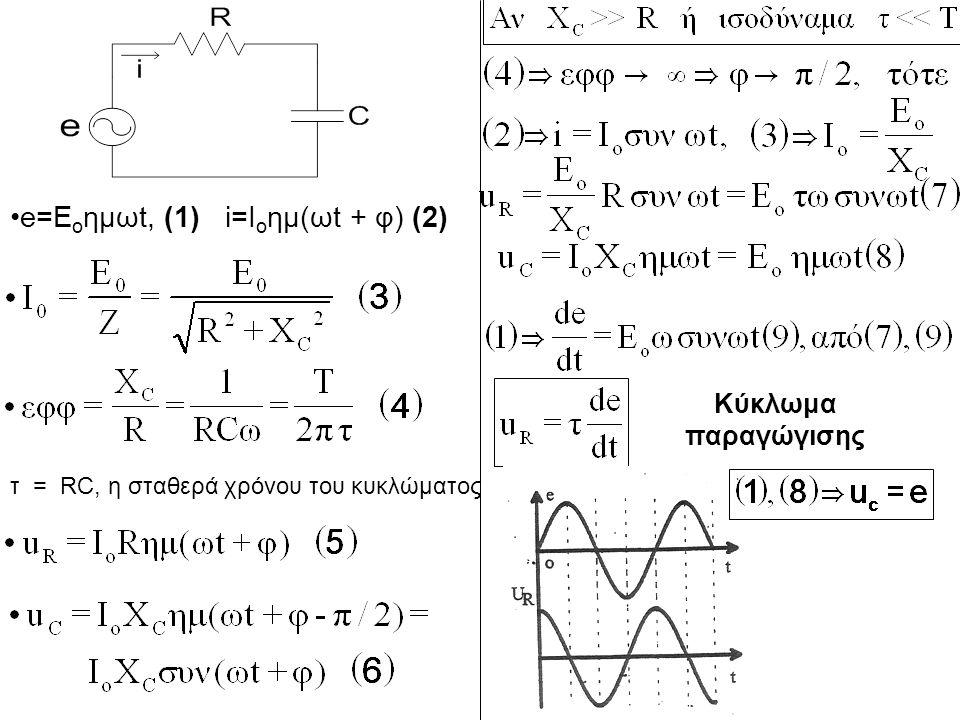 e=E o ημωt, (1) i=I o ημ(ωt + φ) (2) τ = RC, η σταθερά χρόνου του κυκλώματος Κύκλωμα παραγώγισης