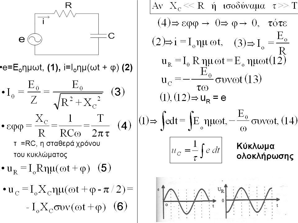 e=E o ημωt, (1), i=I o ημ(ωt + φ) (2) τ =RC, η σταθερά χρόνου του κυκλώματος Κύκλωμα ολοκλήρωσης