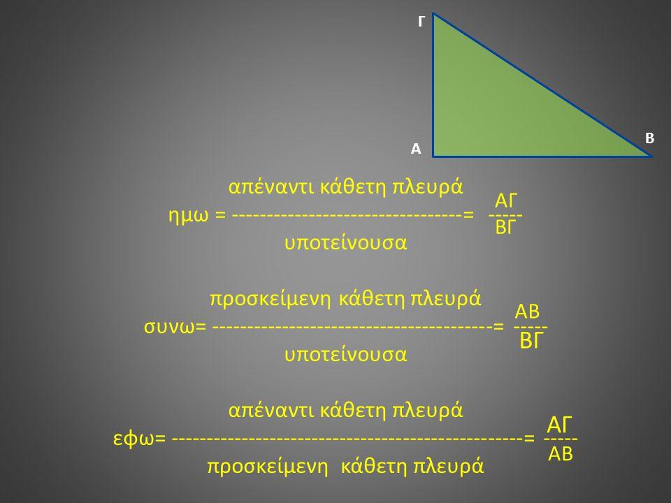 απέναντι κάθετη πλευρά ημω = ---------------------------------= ----- υποτείνουσα προσκείμενη κάθετη πλευρά συνω= ----------------------------------------= ----- υποτείνουσα απέναντι κάθετη πλευρά εφω= --------------------------------------------------= ----- προσκείμενη κάθετη πλευρά Α Β Γ ΑΓ ΒΓ ΑΒ ΒΓ ΑΓ ΑΒ