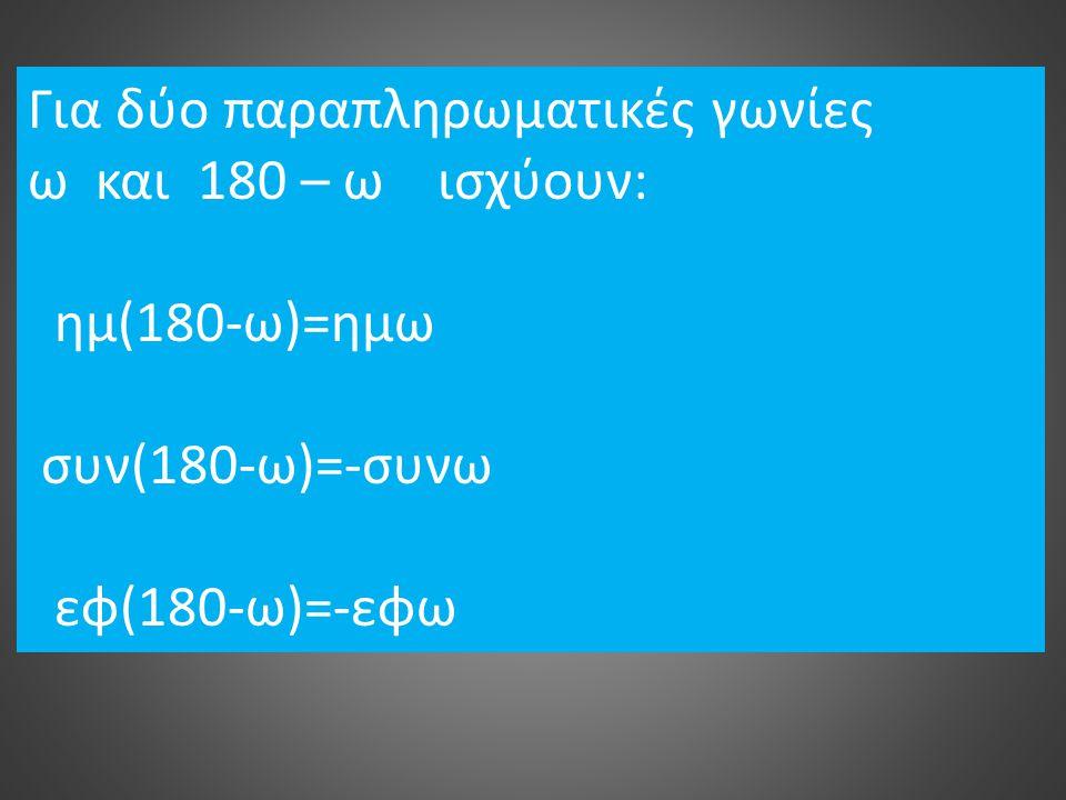 Για δύο παραπληρωματικές γωνίες ω και 180 – ω ισχύουν: ημ(180-ω)=ημω συν(180-ω)=-συνω εφ(180-ω)=-εφω