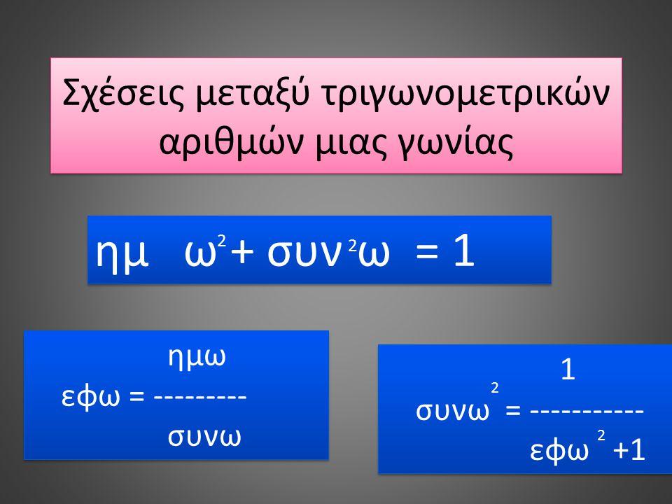 Σχέσεις μεταξύ τριγωνομετρικών αριθμών μιας γωνίας ημ ω + συν ω = 1 2 2 ημω εφω = --------- συνω ημω εφω = --------- συνω 2 1 συνω = ----------- εφω +
