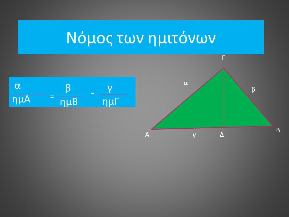Νόμος των ημιτόνων Γ Α Β Δ β α γ α ημΑ β ημΒ = = γ ημΓ