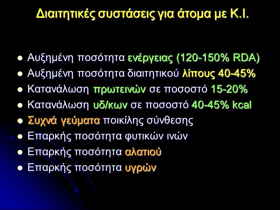 Διαιτητικές συστάσεις για άτομα με Κ.Ι. Αυξημένη ποσότητα ενέργειας (120-150% RDA) Αυξημένη ποσότητα ενέργειας (120-150% RDA) Αυξημένη ποσότητα διαιτη