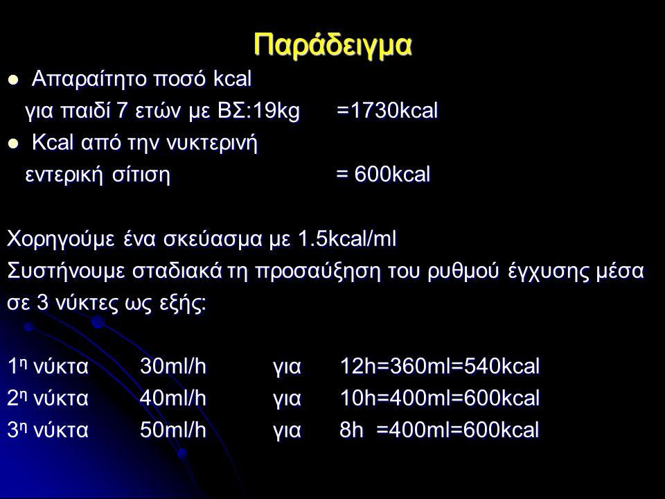 Παράδειγμα Απαραίτητο ποσό kcal Απαραίτητο ποσό kcal για παιδί 7 ετών με ΒΣ:19kg =1730kcal για παιδί 7 ετών με ΒΣ:19kg =1730kcal Kcal από την νυκτεριν