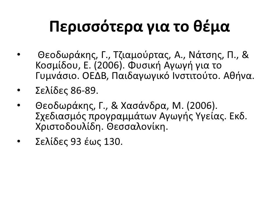 Περισσότερα για το θέμα Θεοδωράκης, Γ., Τζιαμούρτας, Α., Νάτσης, Π., & Κοσμίδου, Ε.
