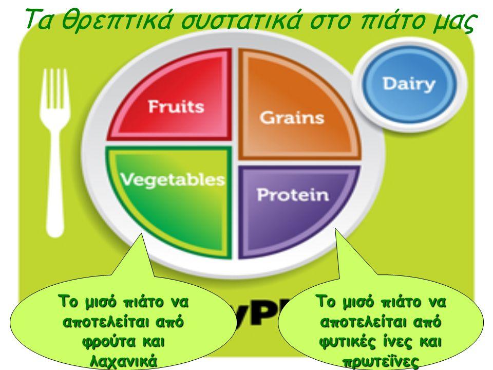 Τα θρεπτικά συστατικά στο πιάτο μας Το μισό πιάτο να αποτελείται από φρούτα και λαχανικά Το μισό πιάτο να αποτελείται από φυτικές ίνες και πρωτεΐνες