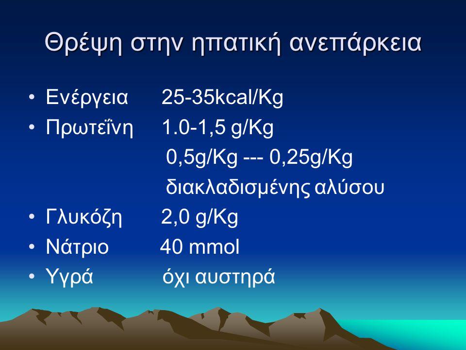 Θρέψη στην ηπατική ανεπάρκεια Ενέργεια 25-35kcal/Kg Πρωτεΐνη 1.0-1,5 g/Kg 0,5g/Kg --- 0,25g/Kg διακλαδισμένης αλύσου Γλυκόζη 2,0 g/Kg Νάτριο 40 mmol Υ