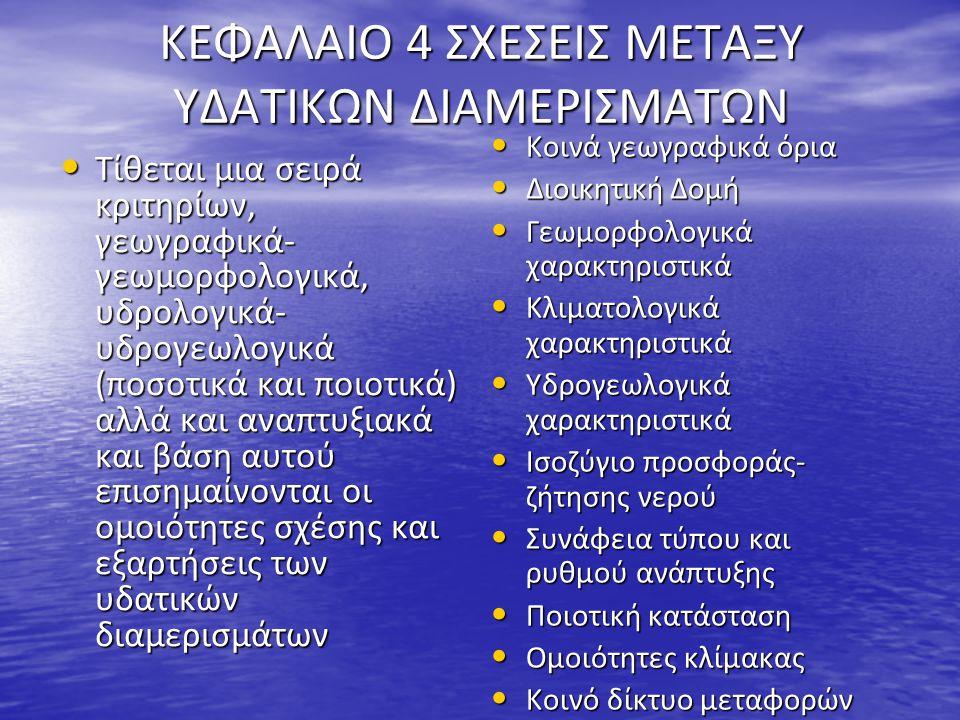 ΚΕΦΑΛΑΙΟ 4 ΣΧΕΣΕΙΣ ΜΕΤΑΞΥ ΥΔΑΤΙΚΩΝ ΔΙΑΜΕΡΙΣΜΑΤΩΝ Τίθεται μια σειρά κριτηρίων, γεωγραφικά- γεωμορφολογικά, υδρολογικά- υδρογεωλογικά (ποσοτικά και ποιο
