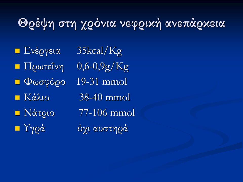 Θρέψη στη χρόνια νεφρική ανεπάρκεια Ενέργεια 35kcal/Kg Ενέργεια 35kcal/Kg Πρωτεΐνη 0,6-0,9g/Kg Πρωτεΐνη 0,6-0,9g/Kg Φωσφόρο 19-31 mmol Φωσφόρο 19-31 mmol Κάλιο 38-40 mmol Κάλιο 38-40 mmol Νάτριο 77-106 mmol Νάτριο 77-106 mmol Υγρά όχι αυστηρά Υγρά όχι αυστηρά