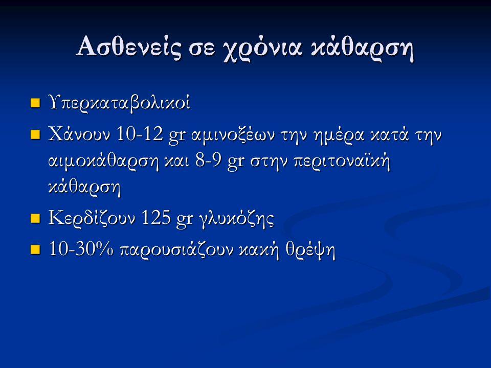 Ασθενείς σε χρόνια κάθαρση Υπερκαταβολικοί Υπερκαταβολικοί Χάνουν 10-12 gr αμινοξέων την ημέρα κατά την αιμοκάθαρση και 8-9 gr στην περιτοναϊκή κάθαρση Χάνουν 10-12 gr αμινοξέων την ημέρα κατά την αιμοκάθαρση και 8-9 gr στην περιτοναϊκή κάθαρση Κερδίζουν 125 gr γλυκόζης Κερδίζουν 125 gr γλυκόζης 10-30% παρουσιάζουν κακή θρέψη 10-30% παρουσιάζουν κακή θρέψη