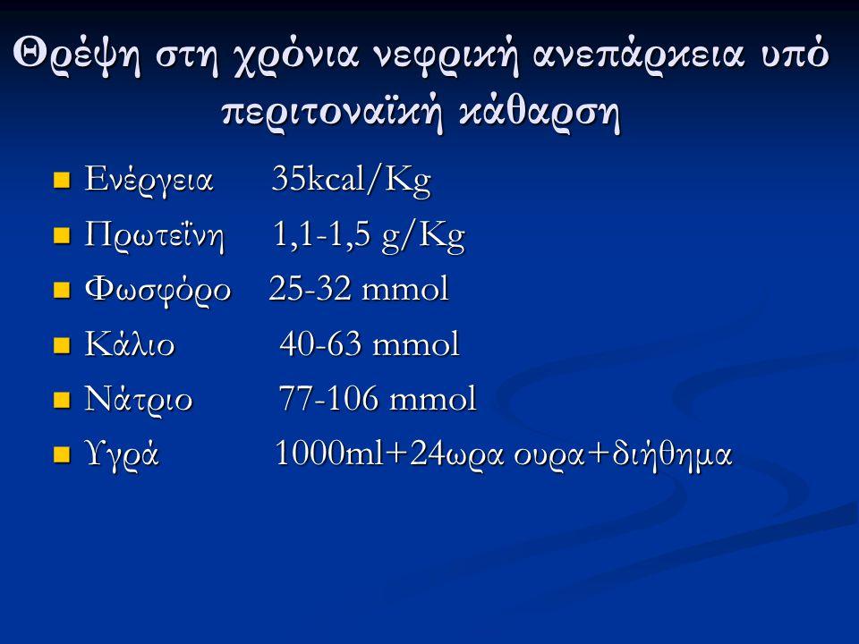 Θρέψη στη χρόνια νεφρική ανεπάρκεια υπό περιτοναϊκή κάθαρση Ενέργεια 35kcal/Kg Ενέργεια 35kcal/Kg Πρωτεΐνη 1,1-1,5 g/Kg Πρωτεΐνη 1,1-1,5 g/Kg Φωσφόρο 25-32 mmol Φωσφόρο 25-32 mmol Κάλιο 40-63 mmol Κάλιο 40-63 mmol Νάτριο 77-106 mmol Νάτριο 77-106 mmol Υγρά 1000ml+24ωρα ουρα+διήθημα Υγρά 1000ml+24ωρα ουρα+διήθημα