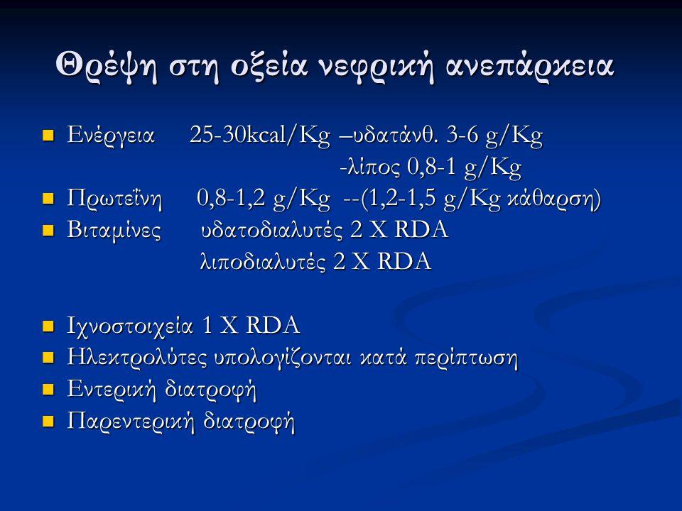 Θρέψη στη οξεία νεφρική ανεπάρκεια Ενέργεια 25-30kcal/Kg –υδατάνθ. 3-6 g/Kg Ενέργεια 25-30kcal/Kg –υδατάνθ. 3-6 g/Kg -λίπος 0,8-1 g/Kg -λίπος 0,8-1 g/