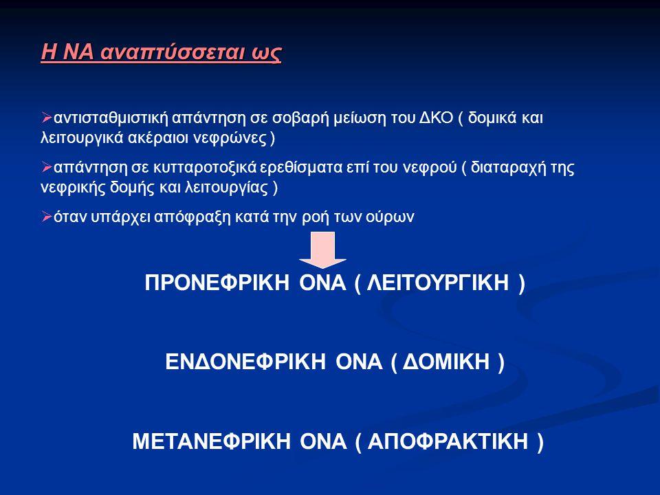 H NA αναπτύσσεται ως  αντισταθμιστική απάντηση σε σοβαρή μείωση του ΔΚΟ ( δομικά και λειτουργικά ακέραιοι νεφρώνες )  απάντηση σε κυτταροτοξικά ερεθίσματα επί του νεφρού ( διαταραχή της νεφρικής δομής και λειτουργίας )  όταν υπάρχει απόφραξη κατά την ροή των ούρων ΠΡΟΝΕΦΡΙΚΗ ΟΝΑ ( ΛΕΙΤΟΥΡΓΙΚΗ ) ΕΝΔΟΝΕΦΡΙΚΗ ΟΝΑ ( ΔΟΜΙΚΗ ) ΜΕΤΑΝΕΦΡΙΚΗ ΟΝΑ ( ΑΠΟΦΡΑΚΤΙΚΗ )