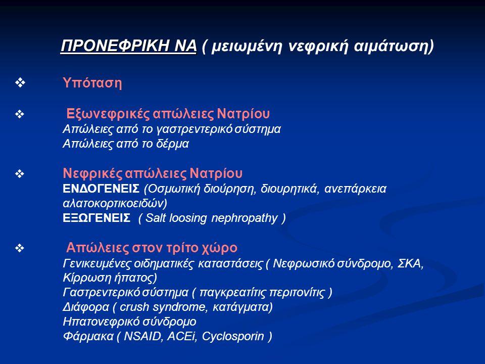 ΠΡΟΝΕΦΡΙΚΗ ΝΑ ΠΡΟΝΕΦΡΙΚΗ ΝΑ ( μειωμένη νεφρική αιμάτωση)  Υπόταση  Εξωνεφρικές απώλειες Νατρίου Απώλειες από το γαστρεντερικό σύστημα Απώλειες από το δέρμα  Νεφρικές απώλειες Νατρίου ΕΝΔΟΓΕΝΕΙΣ (Οσμωτική διούρηση, διουρητικά, ανεπάρκεια αλατοκορτικοειδών) ΕΞΩΓΕΝΕΙΣ ( Salt loosing nephropathy )  Απώλειες στον τρίτο χώρο Γενικευμένες οιδηματικές καταστάσεις ( Νεφρωσικό σύνδρομο, ΣΚΑ, Κίρρωση ήπατος) Γαστρεντερικό σύστημα ( παγκρεατίτις περιτονίτις ) Διάφορα ( crush syndrome, κατάγματα) Ηπατονεφρικό σύνδρομο Φάρμακα ( NSAID, ACEi, Cyclosporin )