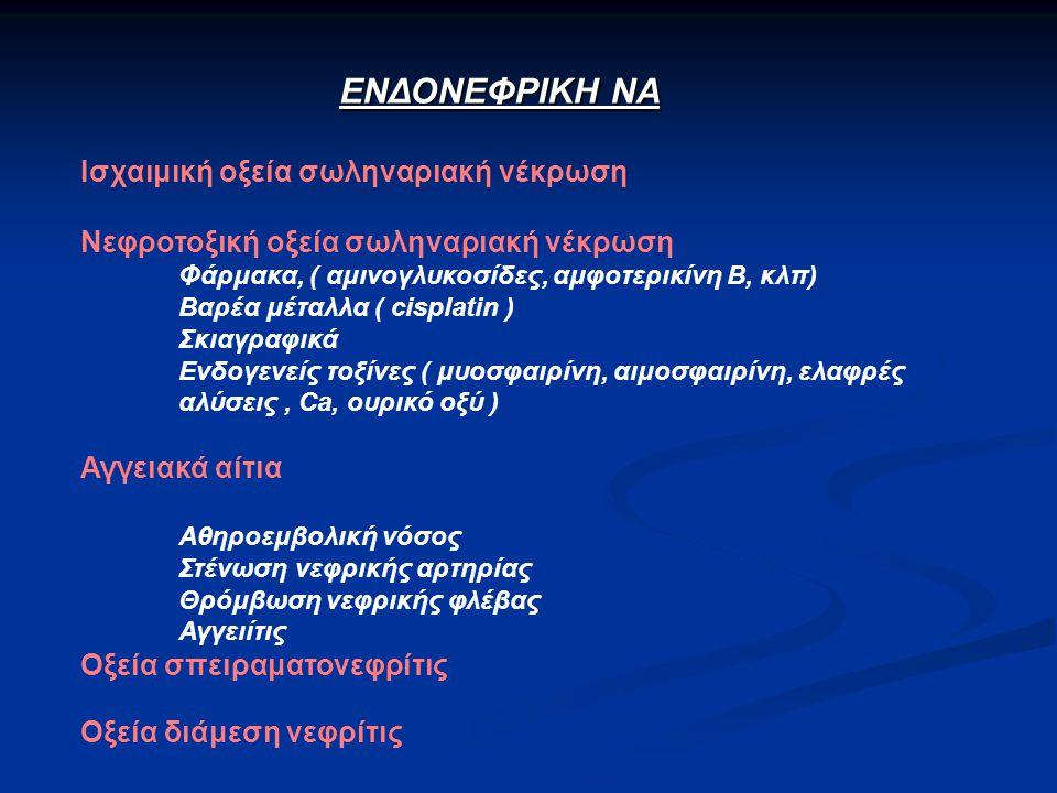 ΕΝΔΟΝΕΦΡΙΚΗ ΝΑ Ισχαιμική οξεία σωληναριακή νέκρωση Νεφροτοξική οξεία σωληναριακή νέκρωση Φάρμακα, ( αμινογλυκοσίδες, αμφοτερικίνη Β, κλπ) Βαρέα μέταλλα ( cisplatin ) Σκιαγραφικά Ενδογενείς τοξίνες ( μυοσφαιρίνη, αιμοσφαιρίνη, ελαφρές αλύσεις, Ca, ουρικό οξύ ) Αγγειακά αίτια Αθηροεμβολική νόσος Στένωση νεφρικής αρτηρίας Θρόμβωση νεφρικής φλέβας Αγγειίτις Οξεία σπειραματονεφρίτις Οξεία διάμεση νεφρίτις