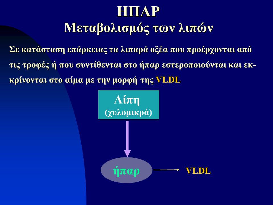 ήπαρ Λίπη (χυλομικρά) Μεταβολισμός των λιπών Σε κατάσταση επάρκειας τα λιπαρά οξέα που προέρχονται από τις τροφές ή που συντίθενται στο ήπαρ εστεροποι