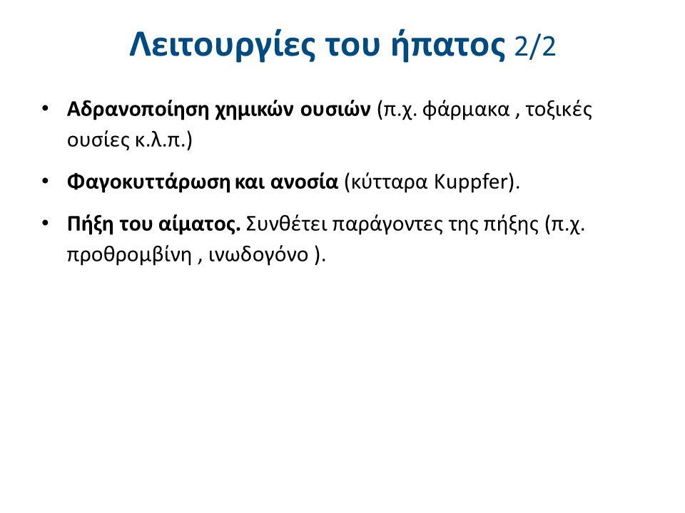 Λειτουργίες του ήπατος 2/2 Αδρανοποίηση χημικών ουσιών (π.χ. φάρμακα, τοξικές ουσίες κ.λ.π.) Φαγοκυττάρωση και ανοσία (κύτταρα Kuppfer). Πήξη του αίμα