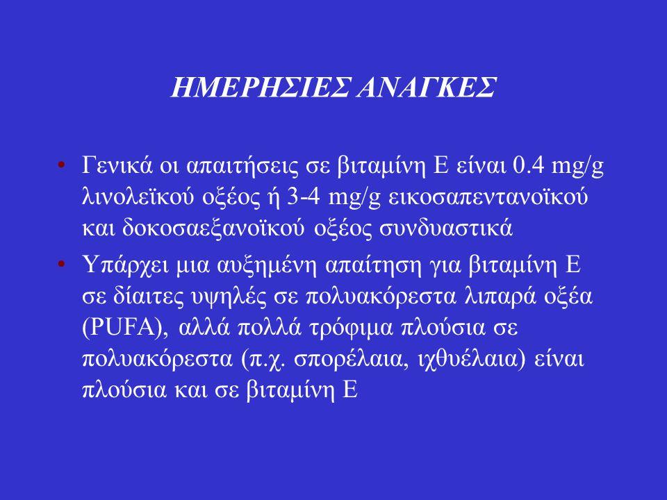 ΗΜΕΡΗΣΙΕΣ ΑΝΑΓΚΕΣ Γενικά οι απαιτήσεις σε βιταμίνη Ε είναι 0.4 mg/g λινολεϊκού οξέος ή 3-4 mg/g εικοσαπεντανοϊκού και δοκοσαεξανοϊκού οξέος συνδυαστικ