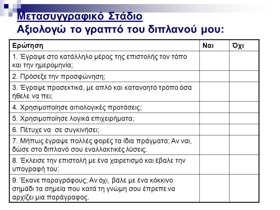 Μετασυγγραφικό Στάδιο Αξιολογώ το γραπτό του διπλανού μου: ΕρώτησηΝαιΌχι 1.