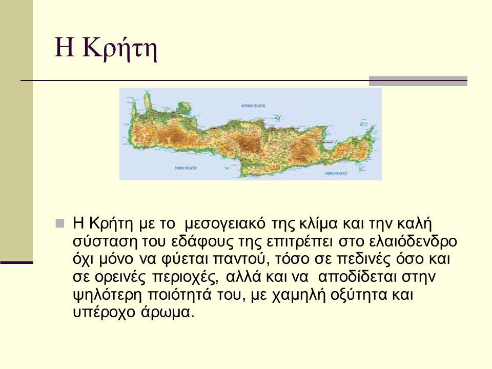 Η Κρήτη Η Κρήτη με το μεσογειακό της κλίμα και την καλή σύσταση του εδάφους της επιτρέπει στο ελαιόδενδρο όχι μόνο να φύεται παντού, τόσο σε πεδινές ό