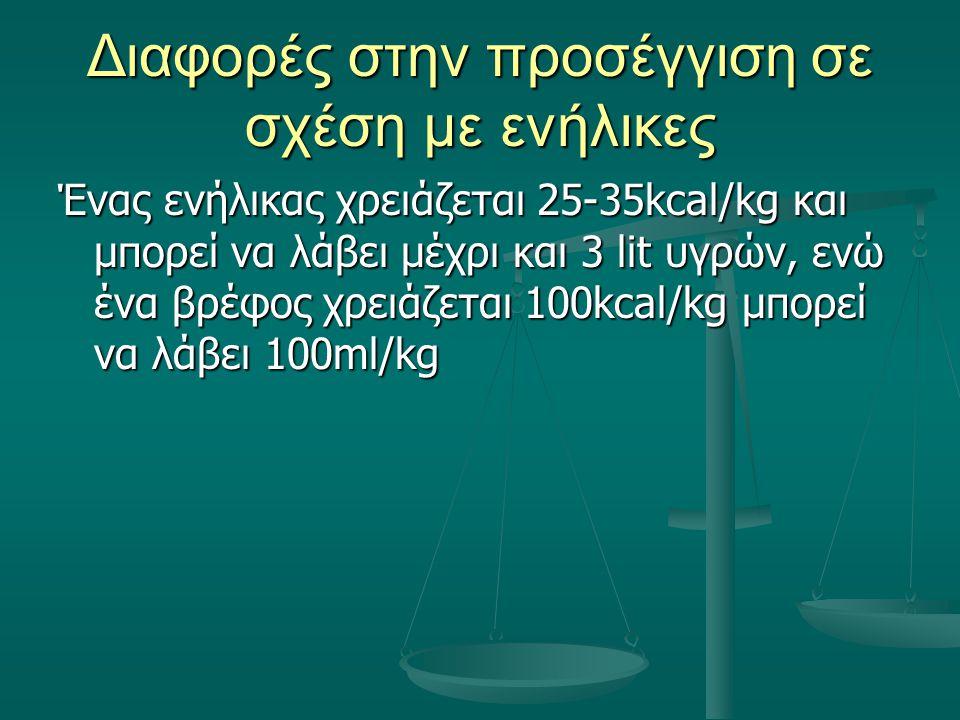 Διαφορές στην προσέγγιση σε σχέση με ενήλικες Ένας ενήλικας χρειάζεται 25-35kcal/kg και μπορεί να λάβει μέχρι και 3 lit υγρών, ενώ ένα βρέφος χρειάζετ