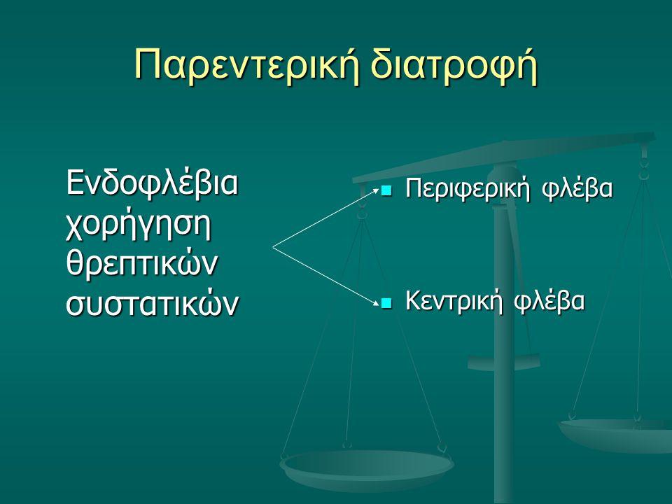 Αλγόριθμοι Kcal=1210+[45kcal/kg(weight-11)] Kcal=1210+[45kcal/kg(weight-11)] Pr= 3.5g/kg Pr= 3.5g/kg Lip= 3.5g/kg Lip= 3.5g/kg Dex= (kcal-gpr*4-glip*10)/3.4 Dex= (kcal-gpr*4-glip*10)/3.4