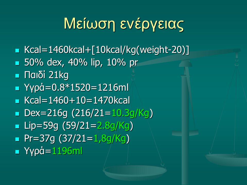 Μείωση ενέργειας Kcal=1460kcal+[10kcal/kg(weight-20)] Kcal=1460kcal+[10kcal/kg(weight-20)] 50% dex, 40% lip, 10% pr 50% dex, 40% lip, 10% pr Παιδί 21k
