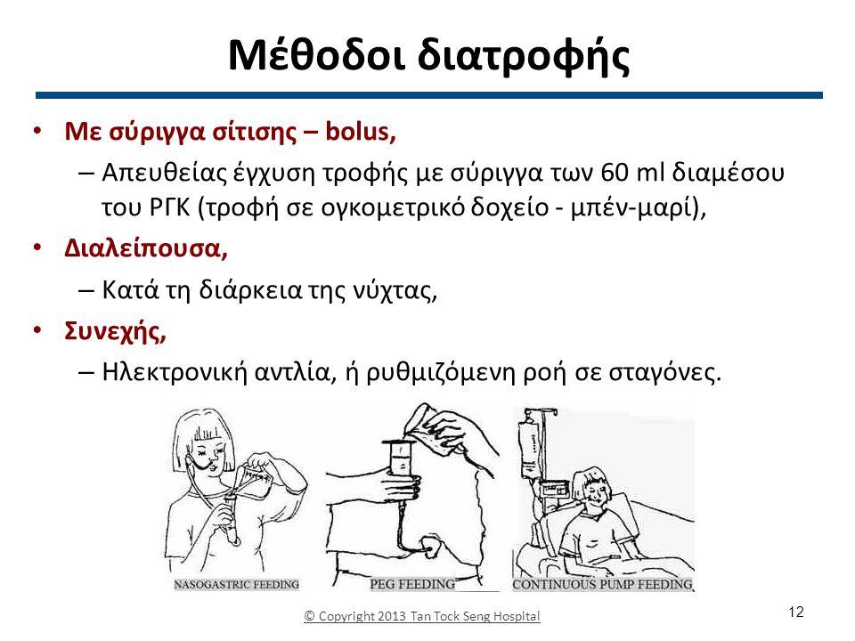Μέθοδοι διατροφής Με σύριγγα σίτισης – bolus, – Απευθείας έγχυση τροφής με σύριγγα των 60 ml διαμέσου του ΡΓΚ (τροφή σε ογκομετρικό δοχείο - μπέν-μαρί