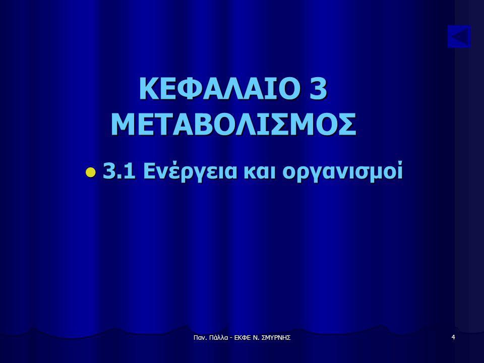 Παν. Πάλλα - ΕΚΦΕ Ν. ΣΜΥΡΝΗΣ 4 ΚΕΦΑΛΑΙΟ 3 ΜΕΤΑΒΟΛΙΣΜΟΣ 3.1 Ενέργεια και οργανισμοί 3.1 Ενέργεια και οργανισμοί