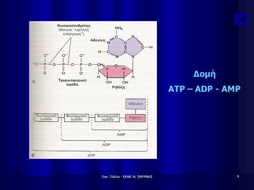 Παν. Πάλλα - ΕΚΦΕ Ν. ΣΜΥΡΝΗΣ 9 Δομή ATP – ADP - AMP