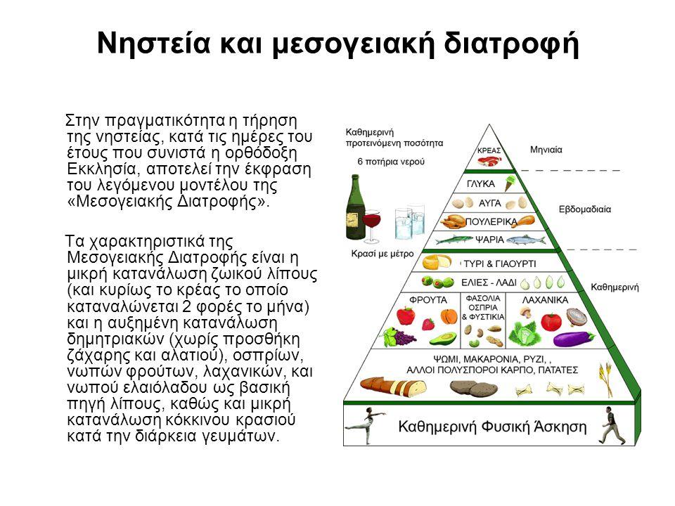 Νηστεία και μεσογειακή διατροφή Στην πραγματικότητα η τήρηση της νηστείας, κατά τις ημέρες του έτους που συνιστά η ορθόδοξη Εκκλησία, αποτελεί την έκφραση του λεγόμενου μοντέλου της «Μεσογειακής Διατροφής».