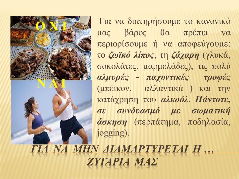 Ο Χ Ι Ν Α Ι Για να διατηρήσουμε το κανονικό μας βάρος θα πρέπει να περιορίσουμε ή να αποφεύγουμε: το ζωϊκό λίπος, τη ζάχαρη (γλυκά, σοκολάτες, μαρμελάδες), τις πολύ αλμυρές - παχυντικές τροφές (μπέικον, αλλαντικά ) και την κατάχρηση του αλκοόλ.
