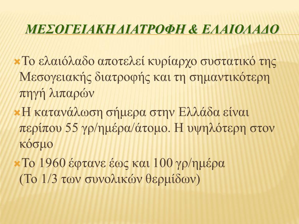 ΜΕΣΟΓΕΙΑΚΗ ΔΙΑΤΡΟΦΗ & ΕΛΑΙΟΛΑΔΟ  Το ελαιόλαδο αποτελεί κυρίαρχο συστατικό της Μεσογειακής διατροφής και τη σημαντικότερη πηγή λιπαρών  Η κατανάλωση σήμερα στην Ελλάδα είναι περίπου 55 γρ/ημέρα/άτομο.