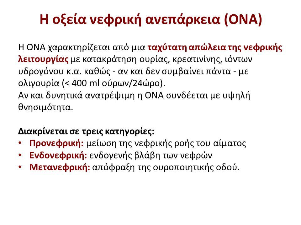 H οξεία νεφρική ανεπάρκεια (ΟΝΑ) Η ΟΝΑ χαρακτηρίζεται από μια ταχύτατη απώλεια της νεφρικής λειτουργίας με κατακράτηση ουρίας, κρεατινίνης, ιόντων υδρ