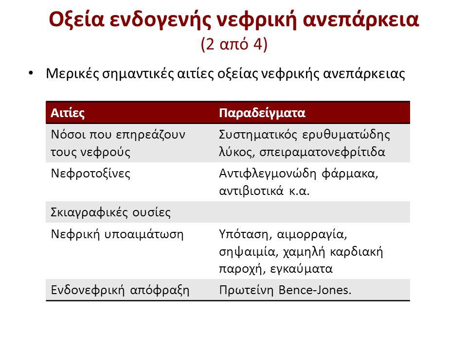 ΑιτίεςΠαραδείγματα Νόσοι που επηρεάζουν τους νεφρούς Συστηματικός ερυθυματώδης λύκος, σπειραματονεφρίτιδα ΝεφροτοξίνεςΑντιφλεγμονώδη φάρμακα, αντιβιοτ