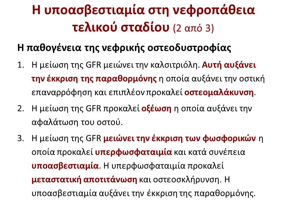 Η υποασβεστιαμία στη νεφροπάθεια τελικού σταδίου (2 από 3) Η παθογένεια της νεφρικής οστεοδυστροφίας 1.Η μείωση της GFR μειώνει την καλσιτριόλη. Αυτή