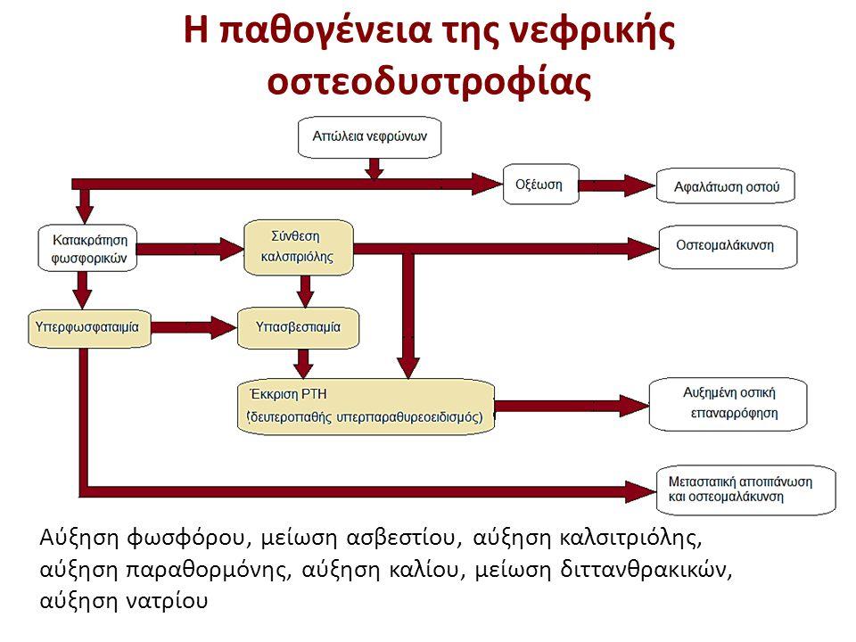 Αύξηση φωσφόρου, μείωση ασβεστίου, αύξηση καλσιτριόλης, αύξηση παραθορμόνης, αύξηση καλίου, μείωση διττανθρακικών, αύξηση νατρίου Η παθογένεια της νεφ