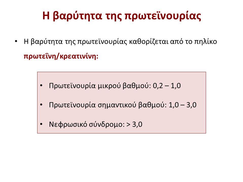 Η βαρύτητα της πρωτεϊνουρίας Η βαρύτητα της πρωτεϊνουρίας καθορίζεται από το πηλίκο πρωτεΐνη/κρεατινίνη: Πρωτεϊνουρία μικρού βαθμού: 0,2 – 1,0 Πρωτεϊν