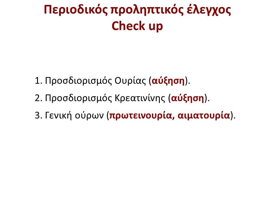 1.Προσδιορισμός Ουρίας (αύξηση). 2.Προσδιορισμός Κρεατινίνης (αύξηση). 3.Γενική ούρων (πρωτεινουρία, αιματουρία). Περιοδικός προληπτικός έλεγχος Check