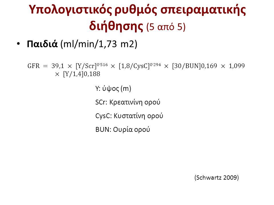 Y: ύψος (m) SCr: Κρεατινίνη ορού CysC: Κυστατίνη ορού ΒUN: Ουρία ορού (Schwartz 2009) Υπολογιστικός ρυθμός σπειραματικής διήθησης (5 από 5) Παιδιά (ml