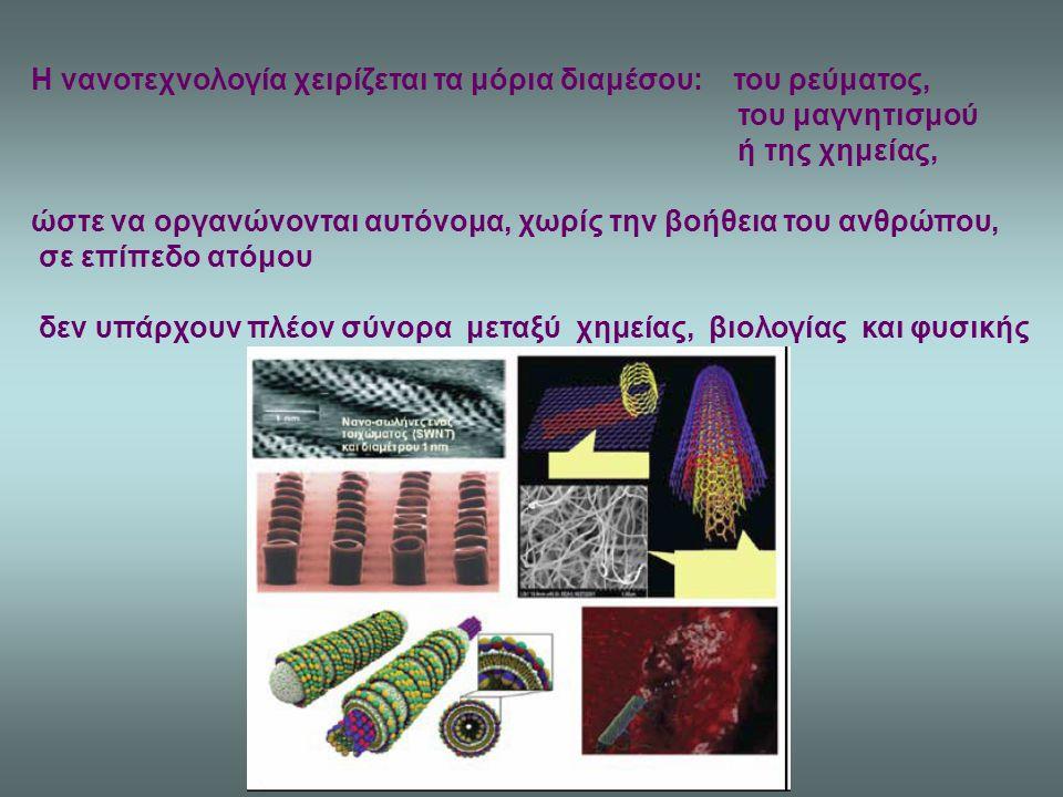 Η νανοτεχνολογία χειρίζεται τα μόρια διαμέσου: του ρεύματος, του μαγνητισμού ή της χημείας, ώστε να οργανώνονται αυτόνομα, χωρίς την βοήθεια του ανθρώ