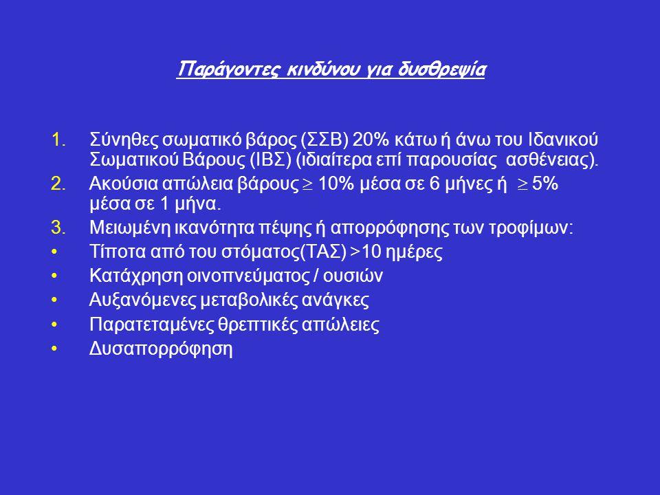 MarasmusKwashiorkor Αρχική ανεπάρκειαΘερμίδεςΠρωτεΐνη ΙστορικόΧρόνια μειωμένη πρόσληψη Μειωμένη πρωτεϊνική διατροφή, Οξεία καταπόνηση ΒάροςΑπώλεια (< 85% ΙΒΣ βάρους) Το βάρος μπορεί να είναι κανονικό Σωματική εξέταση Μείωση των αποθεμάτων λίπους και μυών Οίδημα Ανθρωπομετρικά στοιχεία Μειωμένες δερματοπτυχές τρικέφαλου, περιφέρειας μυών μέσου-βραχίονα Οι δερματοπτυχές τρικέφαλου μπορεί να είναι κανονικές Σπλαγχνικές πρωτεΐνες Μικρή μείωση /φυσιολογικέςΜειωμένες Ανοσοποιητική λειτουργία Μειωμένη