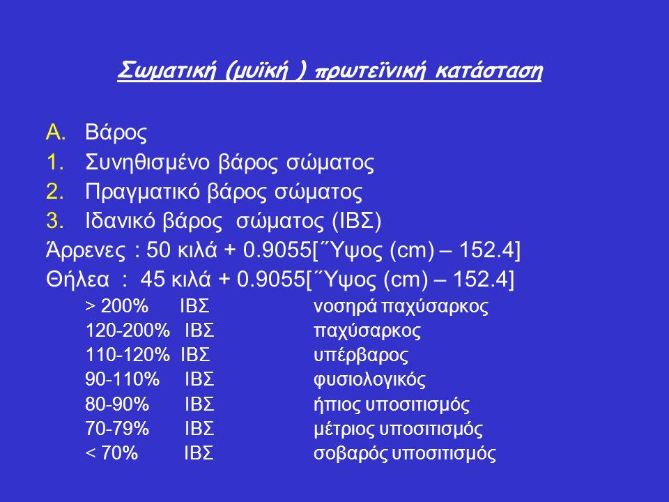 Σωματική (μυϊκή ) πρωτεϊνική κατάσταση A.Βάρος 1.Συνηθισμένο βάρος σώματος 2.Πραγματικό βάρος σώματος 3.Ιδανικό βάρος σώματος (ΙΒΣ) Άρρενες : 50 κιλά