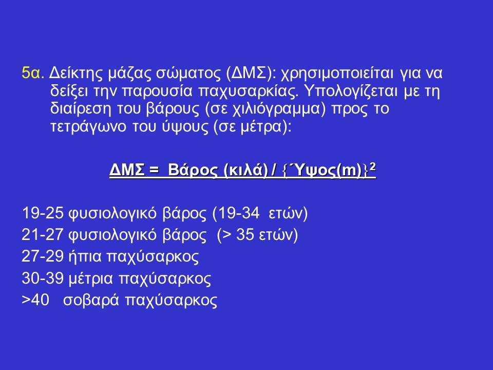 5α. Δείκτης μάζας σώματος (ΔΜΣ): χρησιμοποιείται για να δείξει την παρουσία παχυσαρκίας. Υπολογίζεται με τη διαίρεση του βάρους (σε χιλιόγραμμα) προς