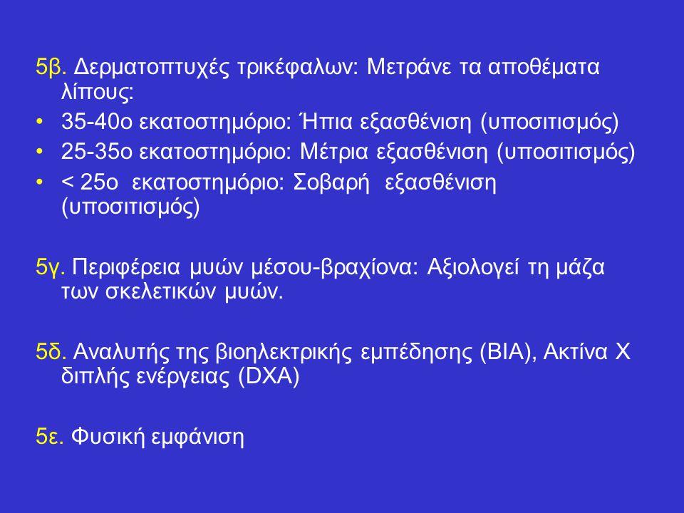 5β. Δερματοπτυχές τρικέφαλων: Μετράνε τα αποθέματα λίπους: 35-40ο εκατοστημόριο: Ήπια εξασθένιση (υποσιτισμός) 25-35ο εκατοστημόριο: Μέτρια εξασθένιση