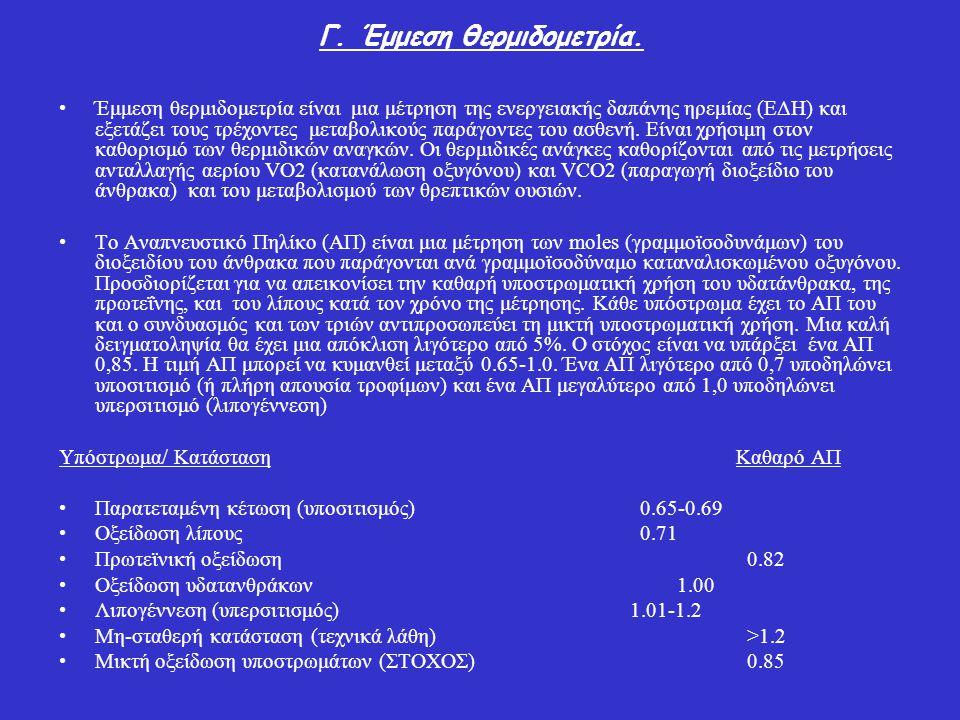 Γ. Έμμεση θερμιδομετρία. Έμμεση θερμιδομετρία είναι μια μέτρηση της ενεργειακής δαπάνης ηρεμίας (ΕΔΗ) και εξετάζει τους τρέχοντες μεταβολικούς παράγον