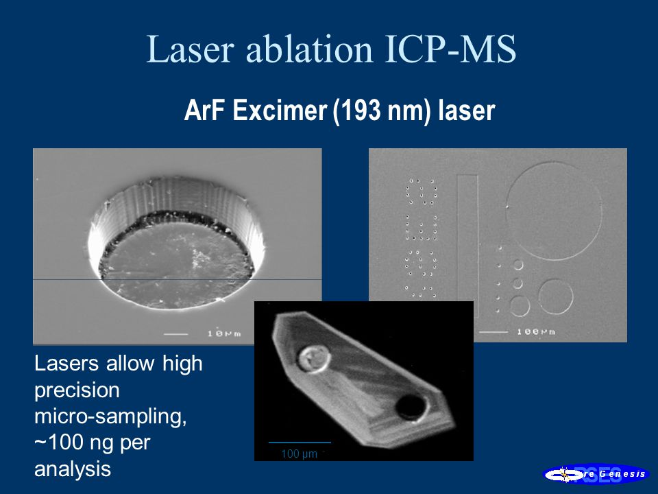 Lasers allow high precision micro-sampling, ~100 ng per analysis 100 µm ArF Excimer (193 nm) laser Laser ablation ICP-MS