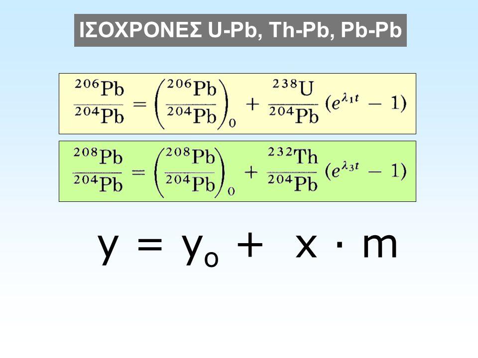 ΙΣΟΧΡΟΝΕΣ U-Pb, Th-Pb, Pb-Pb y = y o + x · m