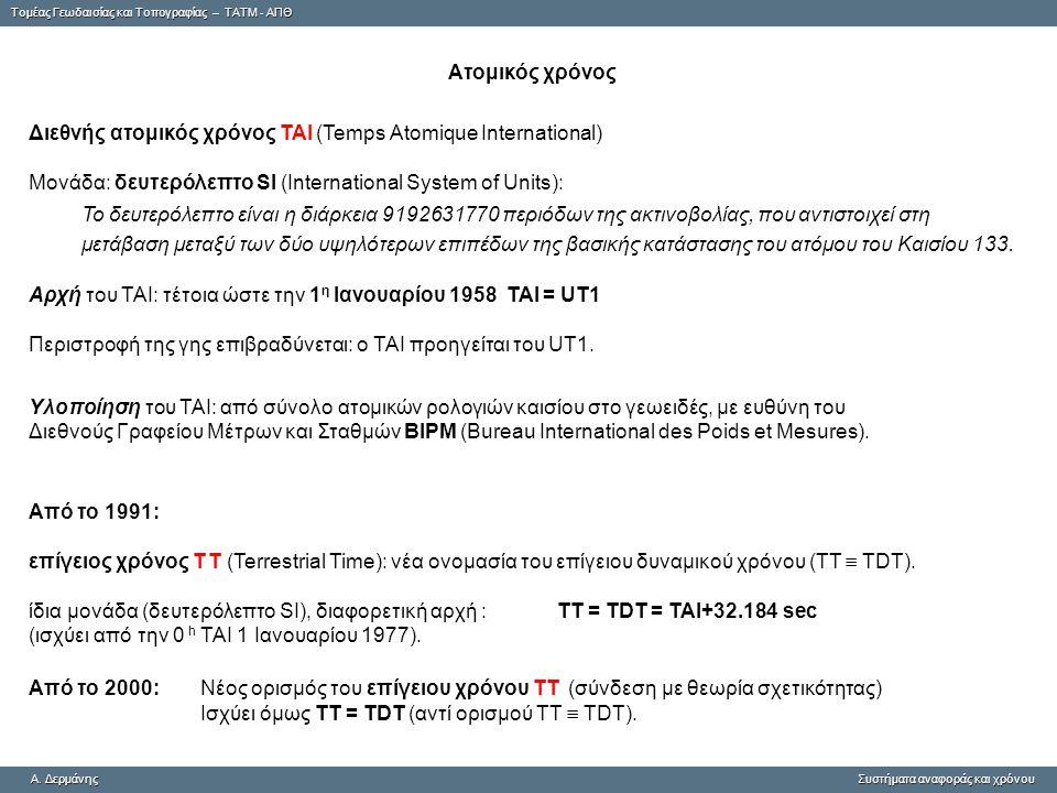 Tομέας Γεωδαισίας και Τοπογραφίας – ΤΑΤΜ - ΑΠΘ A. ΔερμάνηςΣυστήματα αναφοράς και χρόνου A. Δερμάνης Συστήματα αναφοράς και χρόνου Ατομικός χρόνος Διεθ